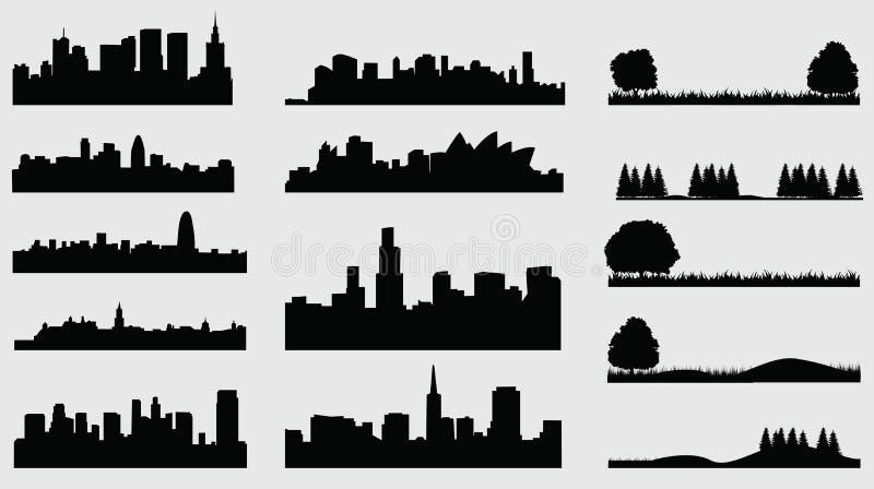 De steden van het Landscpacesilhouet