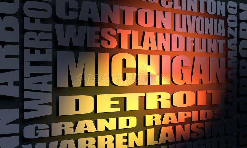 De stedenlijst van Michigan royalty-vrije illustratie