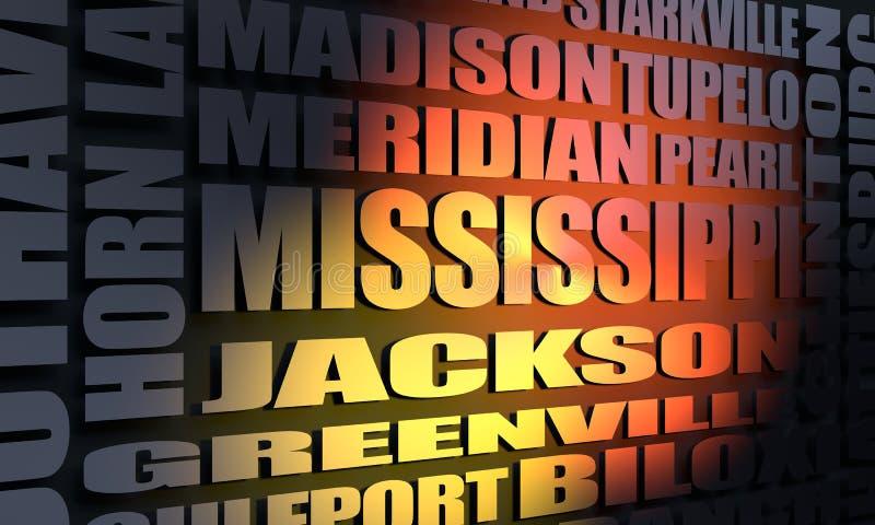 De stedenlijst van de Mississippi stock afbeelding