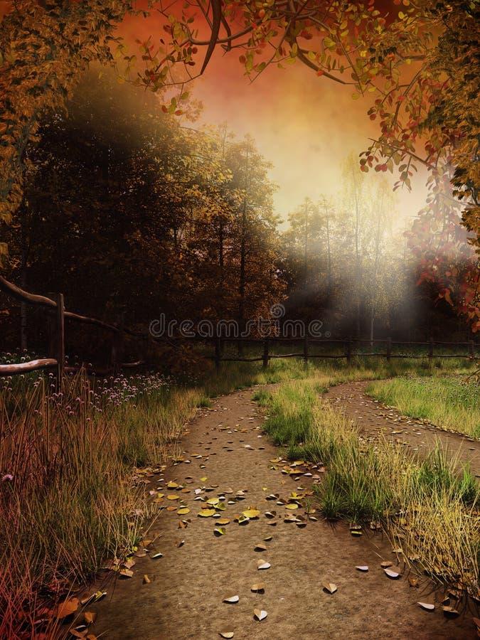De steeg van het land met bladeren stock illustratie