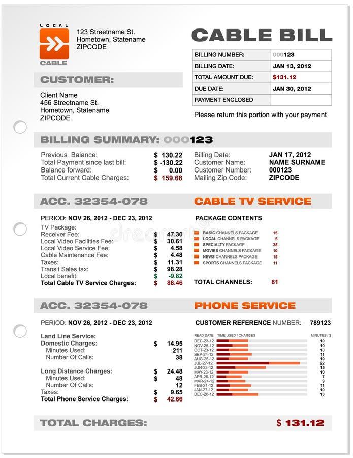 Het Malplaatje van de Steekproef van het Document van de Rekening van de Telefoon van de Dienst van de kabel   stock illustratie