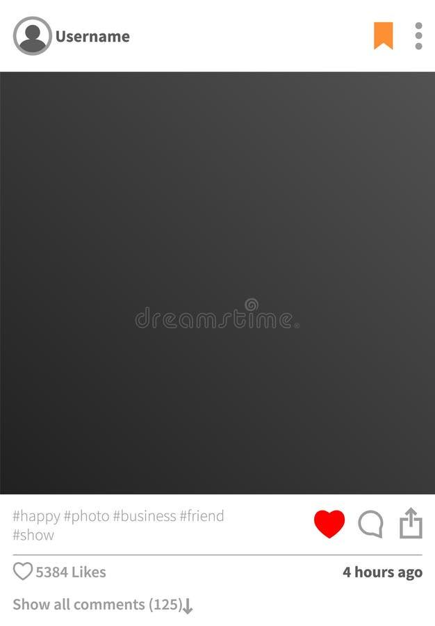 De Steekproef van het Instagramprofiel, Vectorillustratie vector illustratie