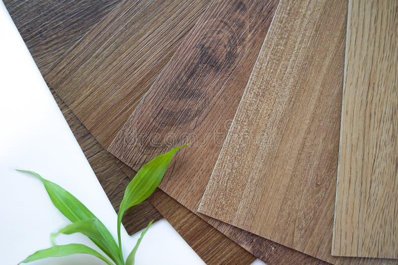 De steekproeven van laminaat maken een nieuwe vloer voor vernieuwen of nieuwe vloer in het huis of het de bouw of commerciële geb stock foto's
