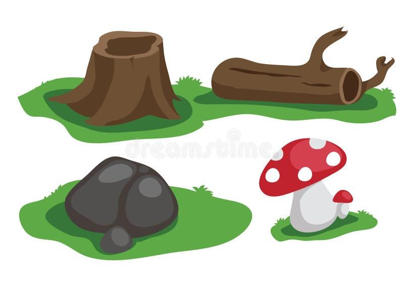 De steen en de paddestoelvector van het stomphout stock foto