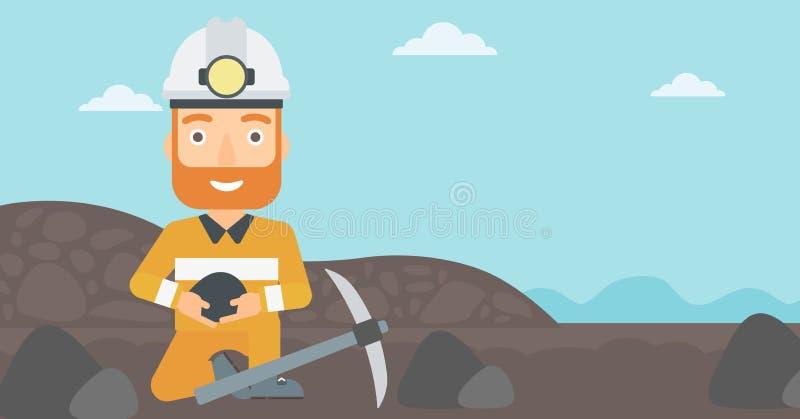 De steenkool van de mijnwerkersholding in handen vector illustratie