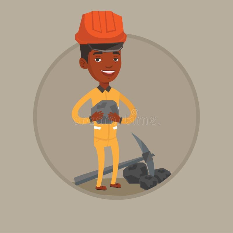 De steenkool van de mijnwerkersholding in handen vectorillustratie vector illustratie