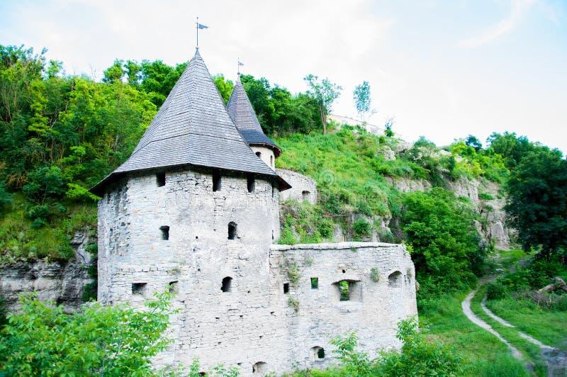 De steentoren is groot met een koepel Oude Stad stock foto's