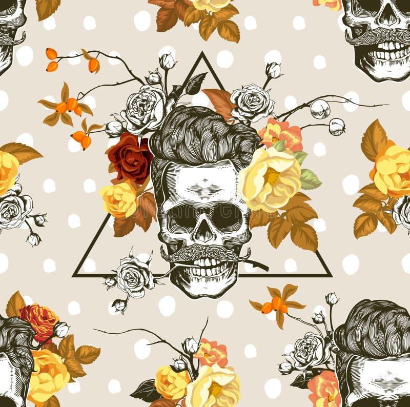 De stemming van de herfst Vele roze en magenta asters Naadloos patroon met de schedels, de bloemen en de bladeren op de achtergro vector illustratie
