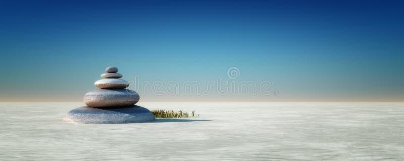 De stenen en het bamboe van Zen stock afbeeldingen