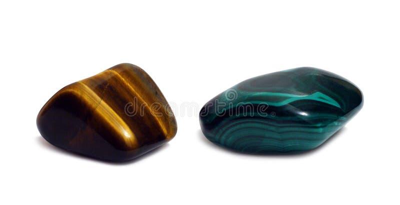 De stenen van de gem - agat en malachiet stock afbeelding
