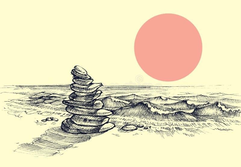 De stenen van Zen op het strand royalty-vrije illustratie