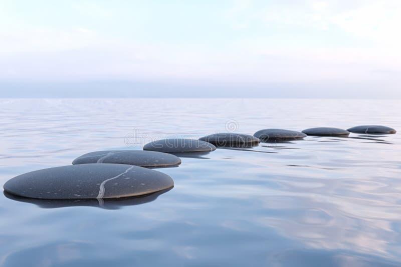De stenen van Zen in water royalty-vrije stock fotografie