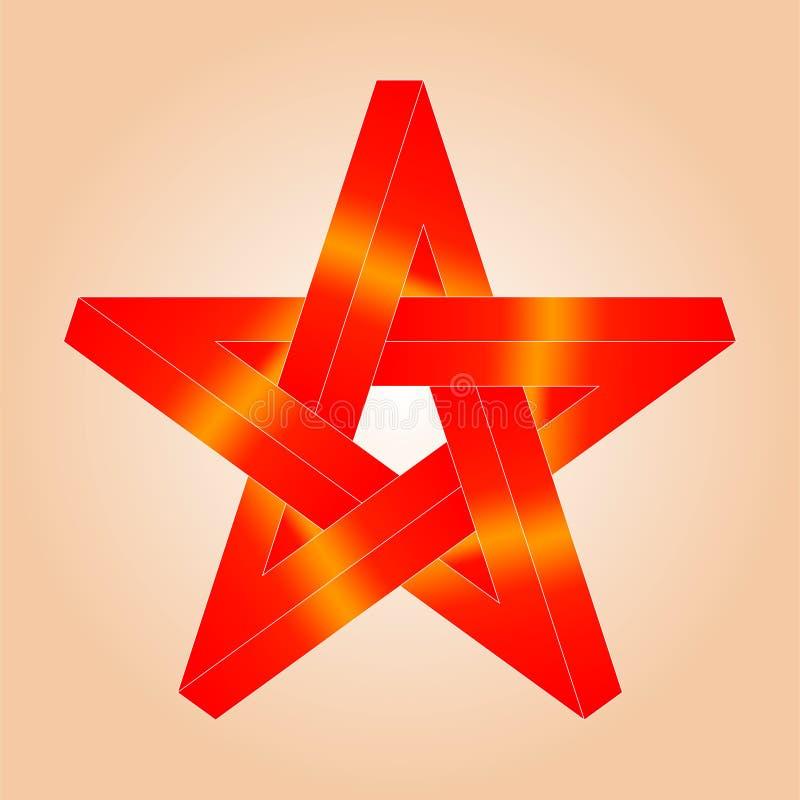 De ster bestaat eensgezind uit vijf ribben prachtig en stock illustratie