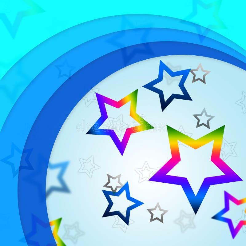 De ster buigt Achtergrond toont Curvy-Lijnen en Regenboogsterren vector illustratie