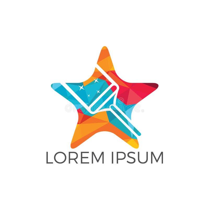 De ster Schoonmakende Dienst Logo Design vector illustratie