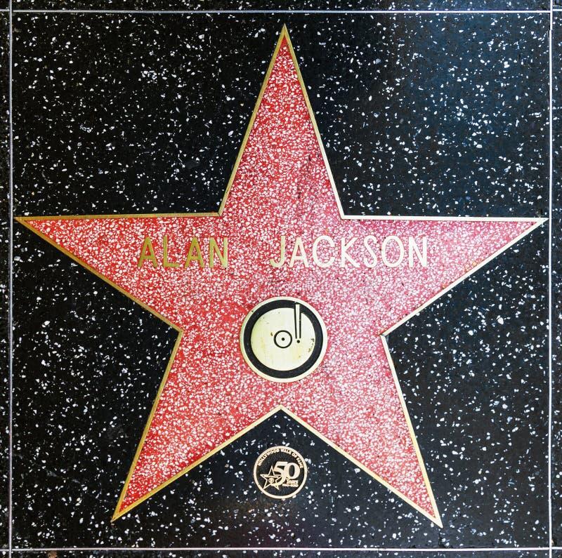 De ster van Alan Jackson op Hollywood-Gang van Bekendheid stock afbeelding