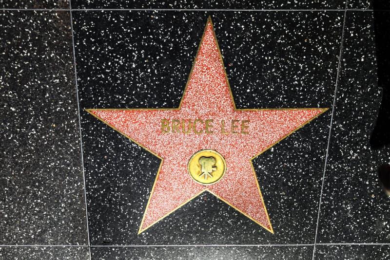 De Ster van Bruce Lee op de Hollywood-Gang van Bekendheid in Los Angeles stock afbeelding