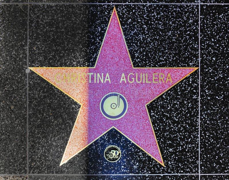 De ster van Christina Aguilera op Hollywood-Gang van Bekendheid stock foto