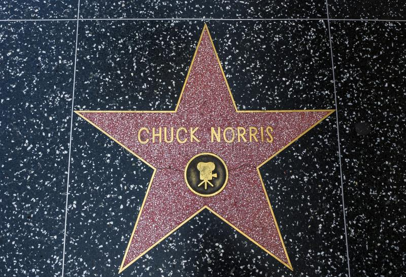 De Ster van Chuck Norris ` s, Hollywood-Gang van Bekendheid - 11 Augustus, 2017 - Hollywood-Boulevard, Los Angeles, Californië, C stock foto