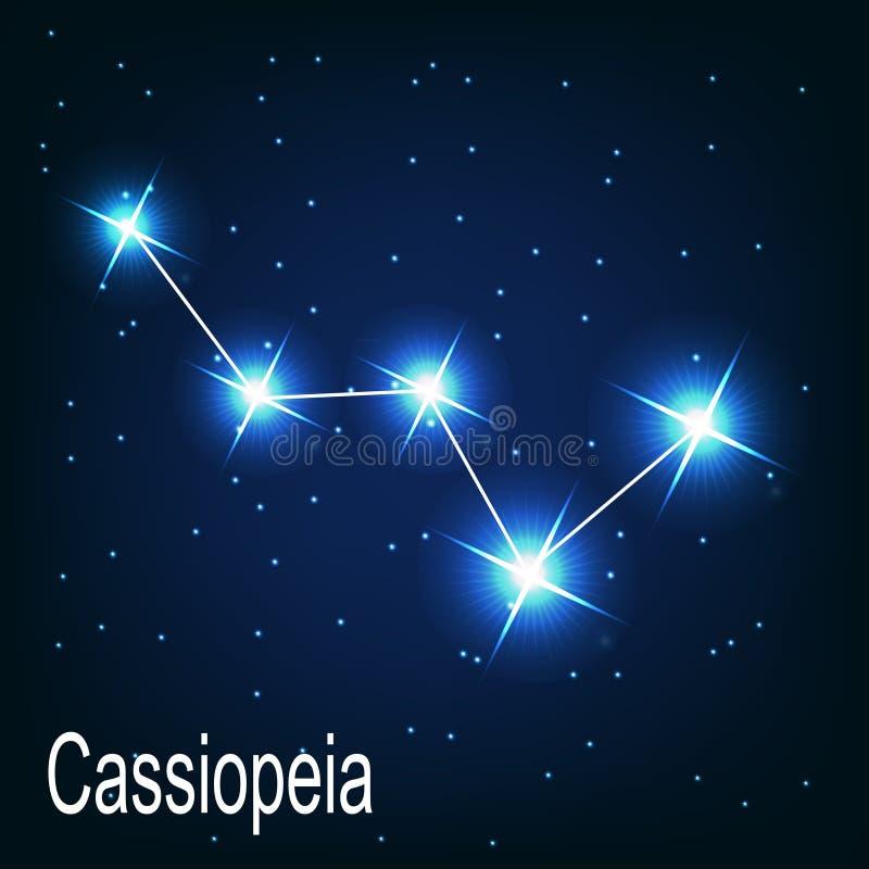 De ster van constellatiecassiopeia in de nacht royalty-vrije illustratie