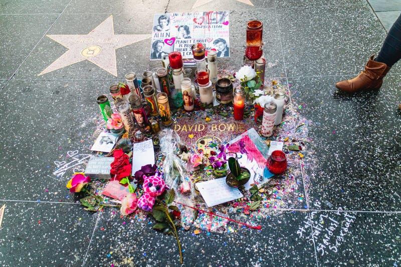 De ster van David Bowie op de Hollywood-Gang van Bekendheid stock afbeeldingen