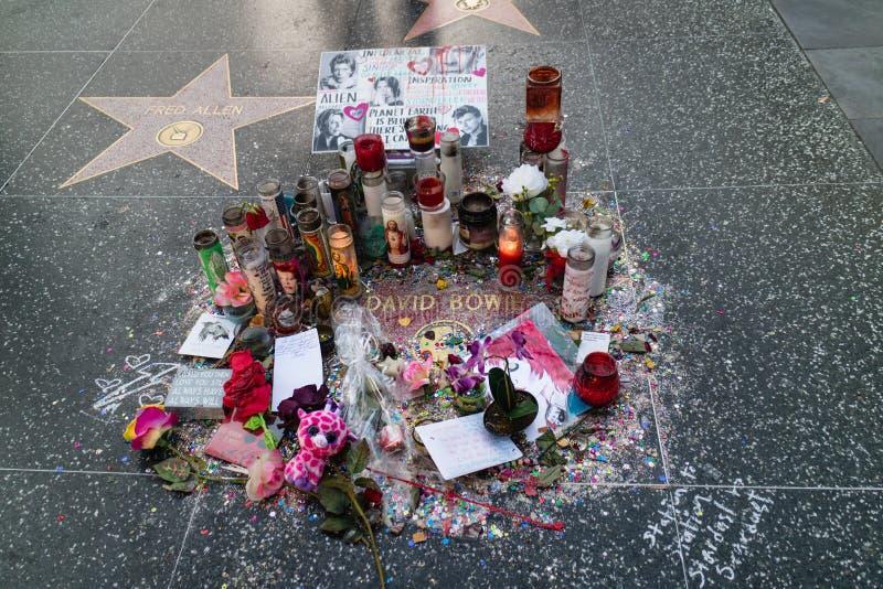 De ster van David Bowie op de Hollywood-Gang van Bekendheid stock foto