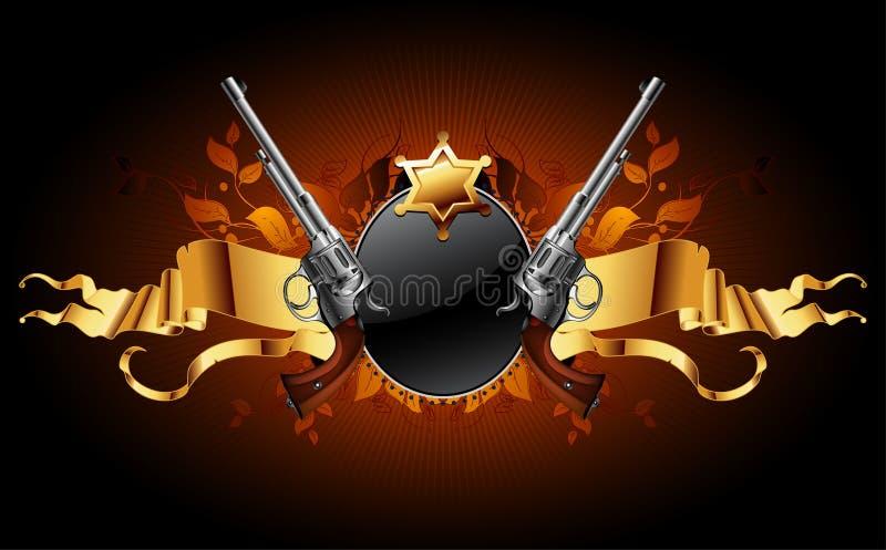 De ster van de sheriff met kanonnen stock illustratie