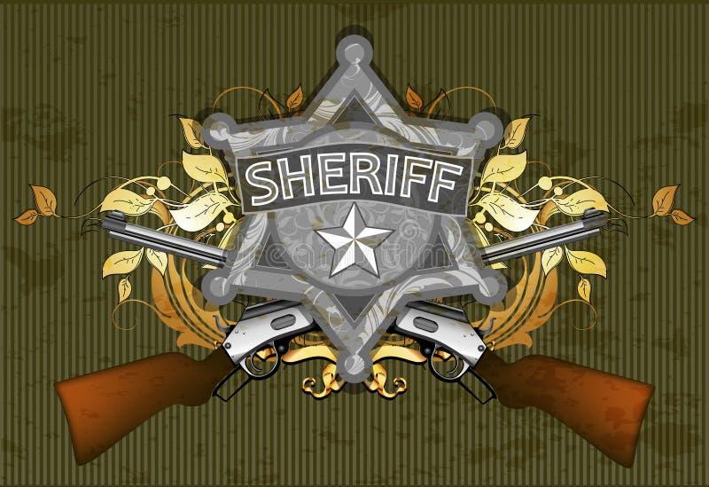 De ster van de sheriff met kanonnen royalty-vrije illustratie
