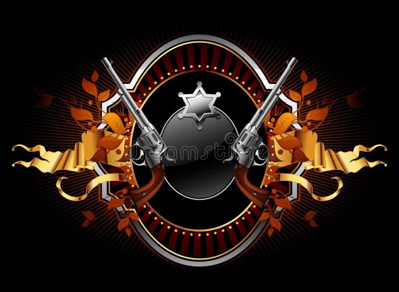 De ster van de sheriff met kanonnen overladen frame stock illustratie