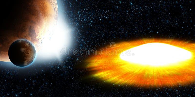 De ster van de supernova, planeetexplosie royalty-vrije illustratie