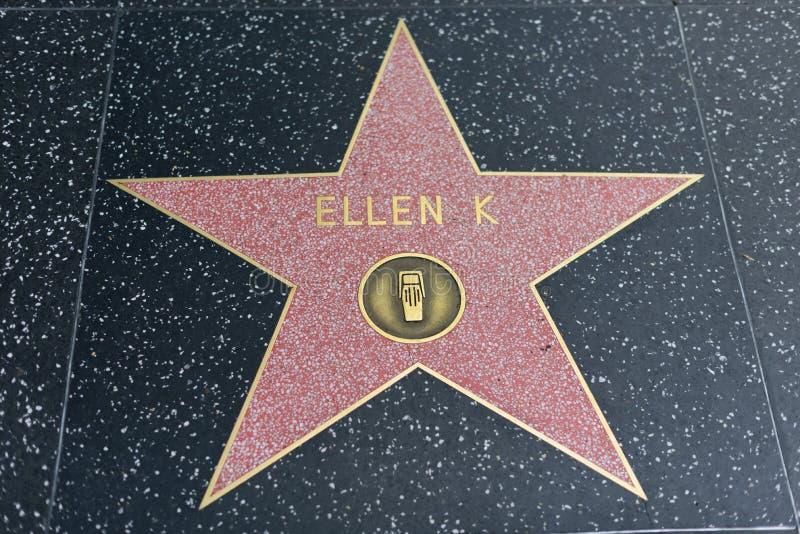 De ster van Ellen K op de Hollywood-Gang van Bekendheid stock afbeelding