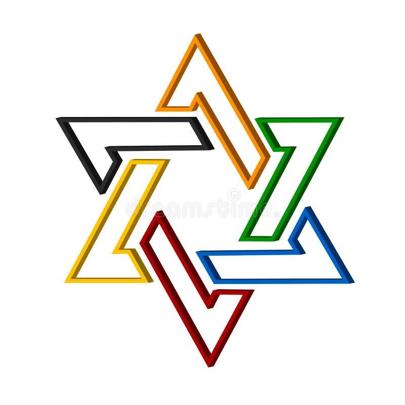 De ster van het embleem van David in vector illustratie