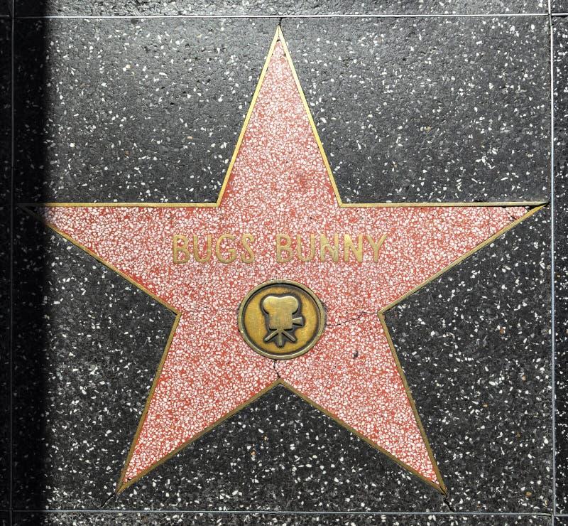De Ster van het insectenkonijntje op de Hollywood-Gang van Bekendheid in Los Angeles stock afbeeldingen
