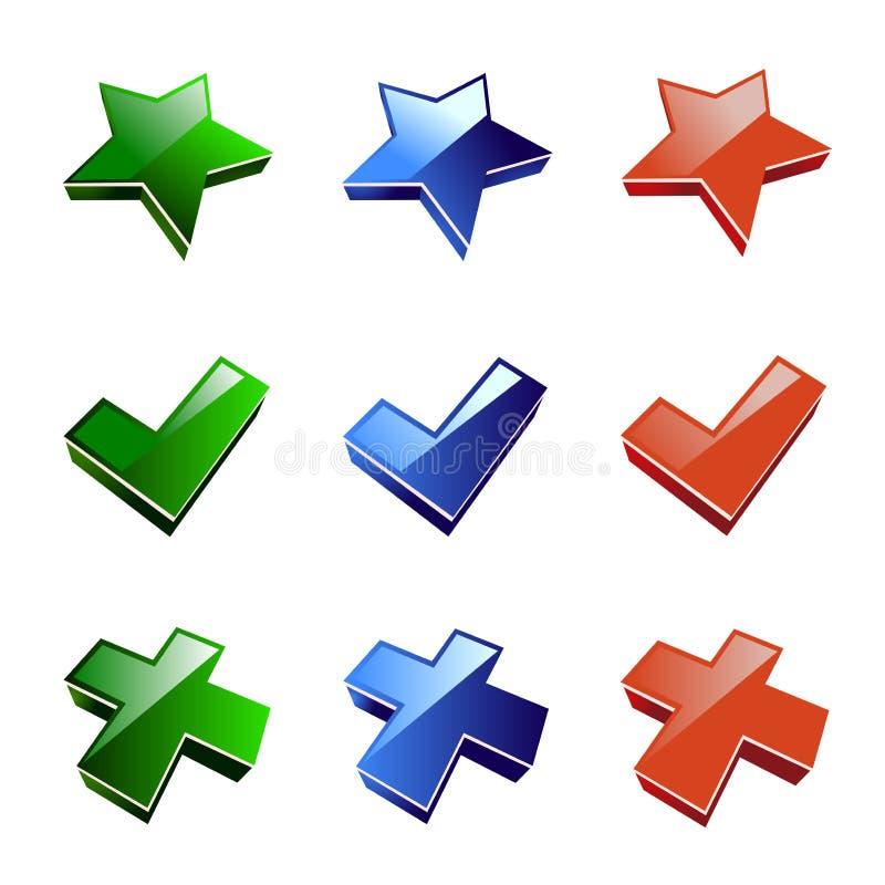 De ster van het pictogram, kruis, keurt goed vector illustratie