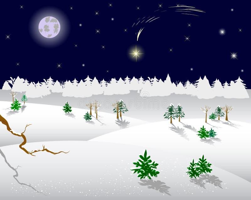 De ster van Kerstmis op een nachthemel. royalty-vrije illustratie