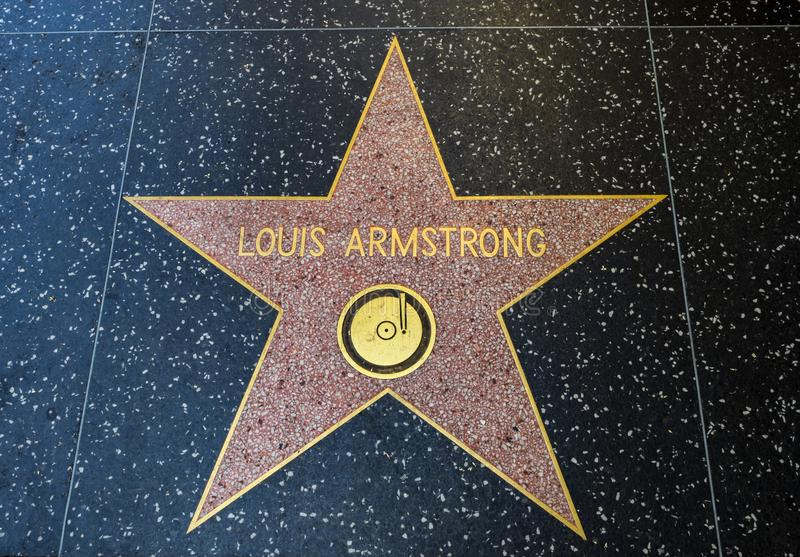 De Ster van Louis Armstrong ` s, Hollywood-Gang van Bekendheid - 11 Augustus, 2017 - Hollywood-Boulevard, Los Angeles, Californië royalty-vrije stock foto's
