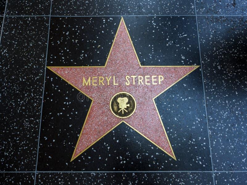 De Ster van Meryl Streep ` s, Hollywood-Gang van Bekendheid - 11 Augustus, 2017 - Hollywood-Boulevard, Los Angeles, Californië, C stock fotografie