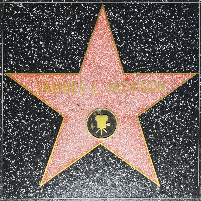 De ster van Samuel L Jacksons op Hollywood-Gang van Bekendheid stock foto's
