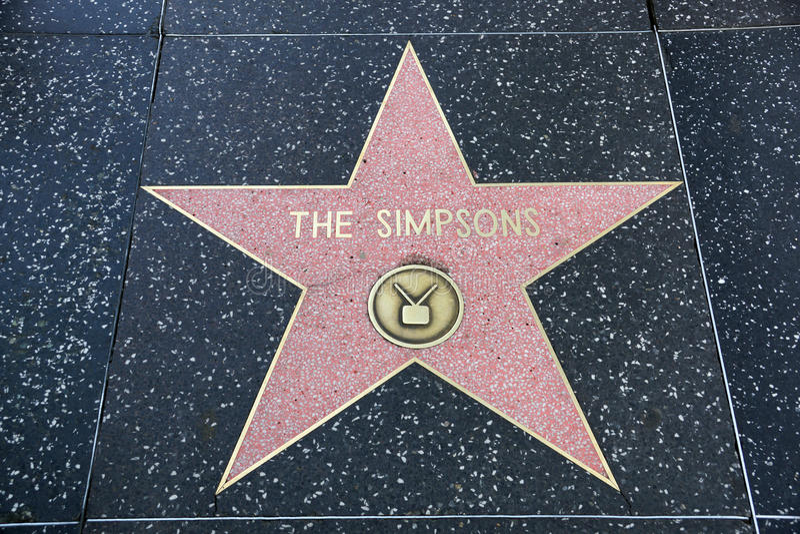 De ster van Simpsons op Hollywood-Gang van Bekendheid stock afbeeldingen