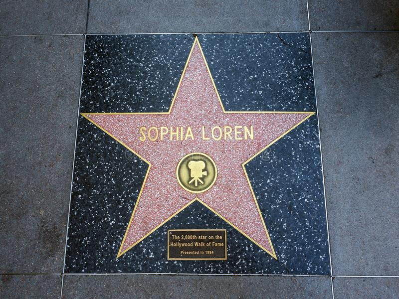 De Ster van Sophia Loren ` s, Hollywood-Gang van Bekendheid - 11 Augustus, 2017 - Hollywood-Boulevard, Los Angeles, Californië, C stock foto's