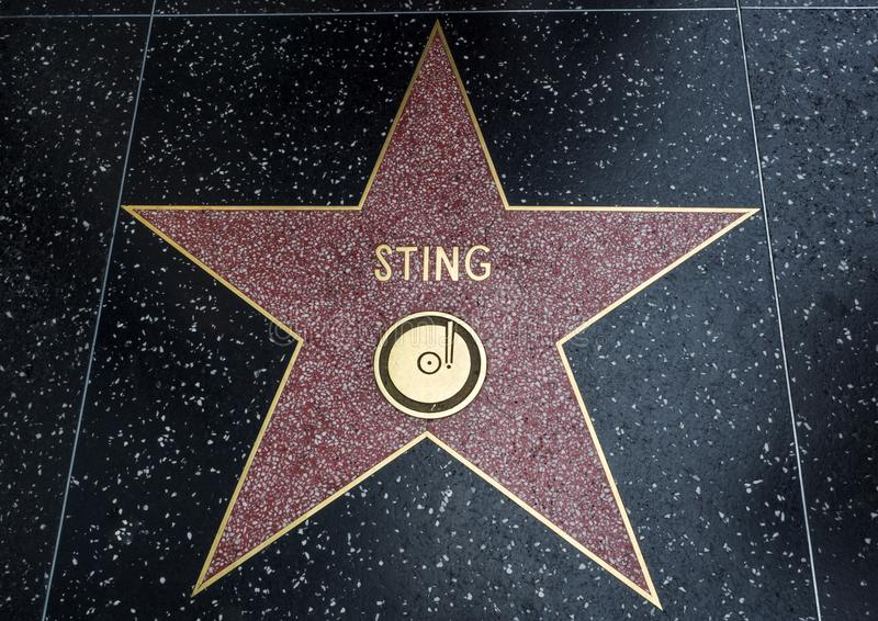 De Ster van Sting ` s, Hollywood-Gang van Bekendheid - 11 Augustus, 2017 - Hollywood-Boulevard, Los Angeles, Californië, CA royalty-vrije stock foto