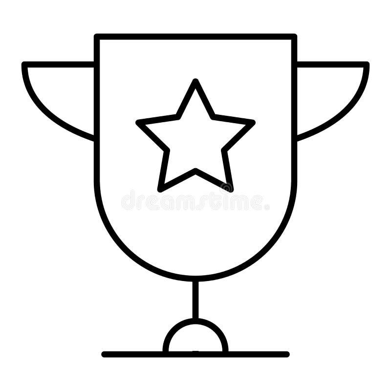 De ster van de trofeekop met handvatten op wit achtergrond vlak pictogramontwerp dat worden geïsoleerd Gouden kampioenskop De vec royalty-vrije illustratie
