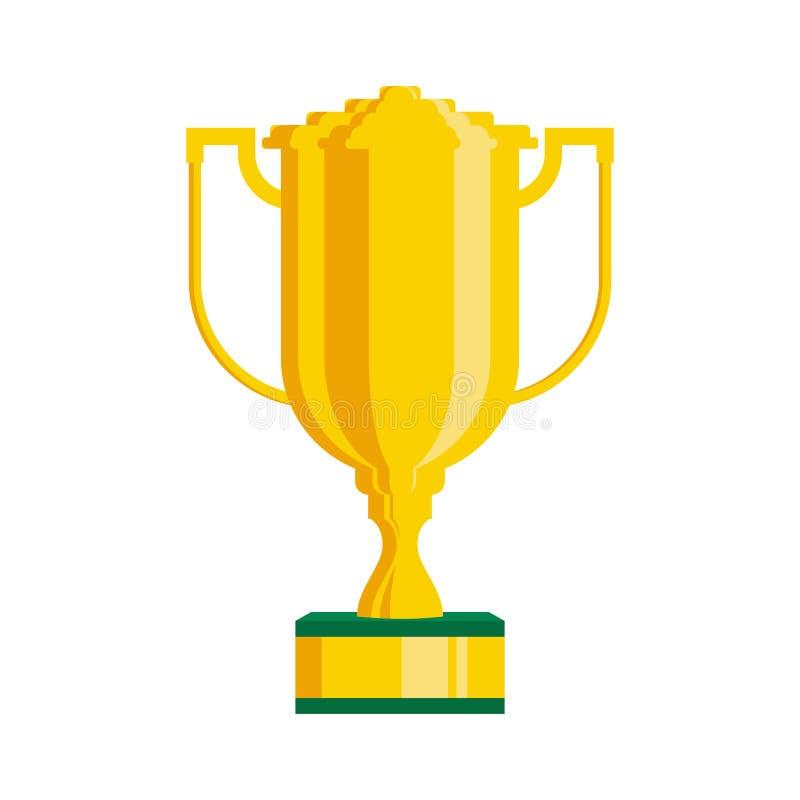De ster van de trofeekop met handvatten op wit achtergrond vlak pictogramontwerp dat worden geïsoleerd Gouden kampioenskop De vec vector illustratie