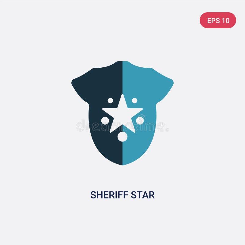 De ster vectorpictogram van de twee kleurensheriff van tekensconcept het geïsoleerde blauwe vector het tekensymbool van de sherif vector illustratie