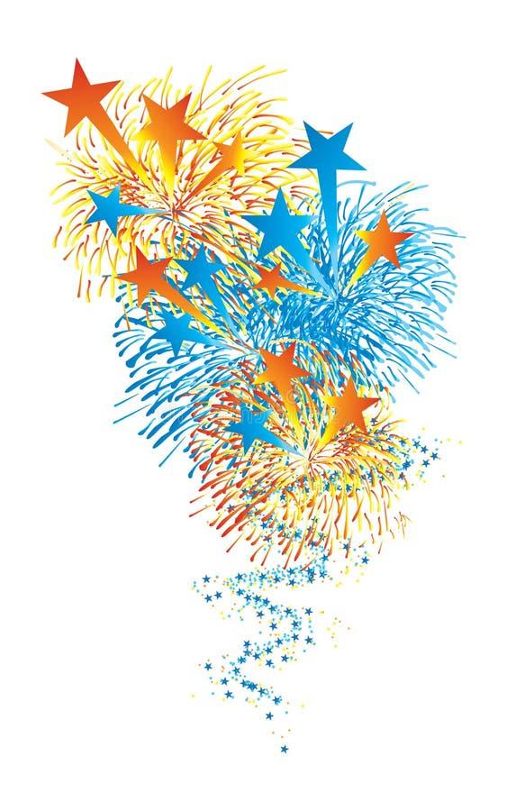 De ster volgt het vuurwerk hemel steunt royalty-vrije illustratie