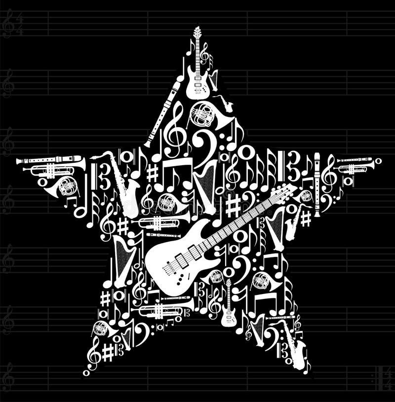 De sterachtergrond van de muziek royalty-vrije illustratie