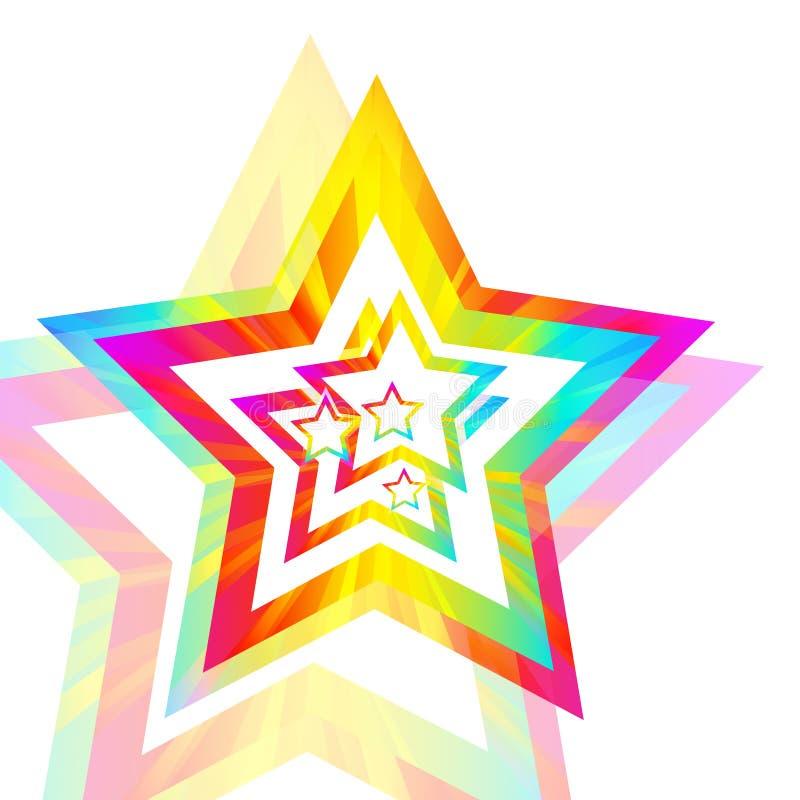 De sterachtergrond van de regenboog stock illustratie