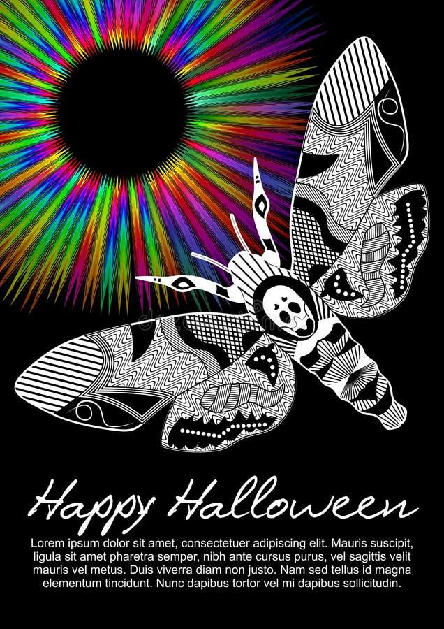 De sterfgevallen leiden hawkmoth op Halloween-vlieger op zwarte achtergrond met stralen van de regenboog de psychedelische cirkel stock illustratie