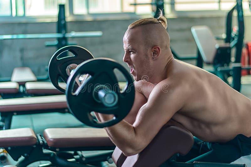 De sterke atletische mens maakt oefening met de predikerkrullen stock fotografie