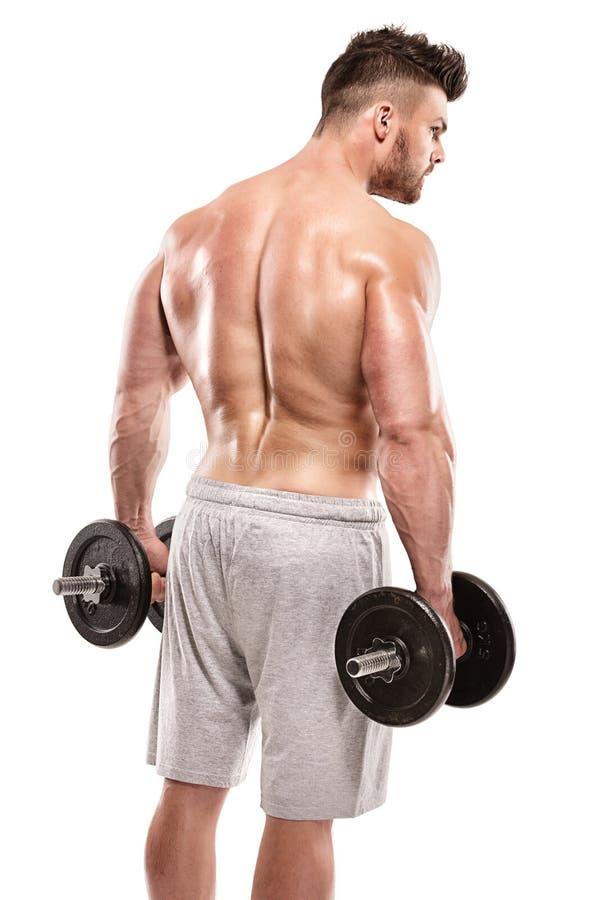 De sterke Atletische Model stellende achterspieren van de Mensengeschiktheid, triceps, royalty-vrije stock foto